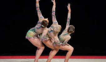 ACROBATIC GYMNASTS COMPETE WITH BRITAIN'S BEST